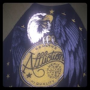 Affliction eagle tee medium